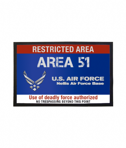 Area 51 US Air Force Nellis Base Welcome Mat Restricted Area Doormat